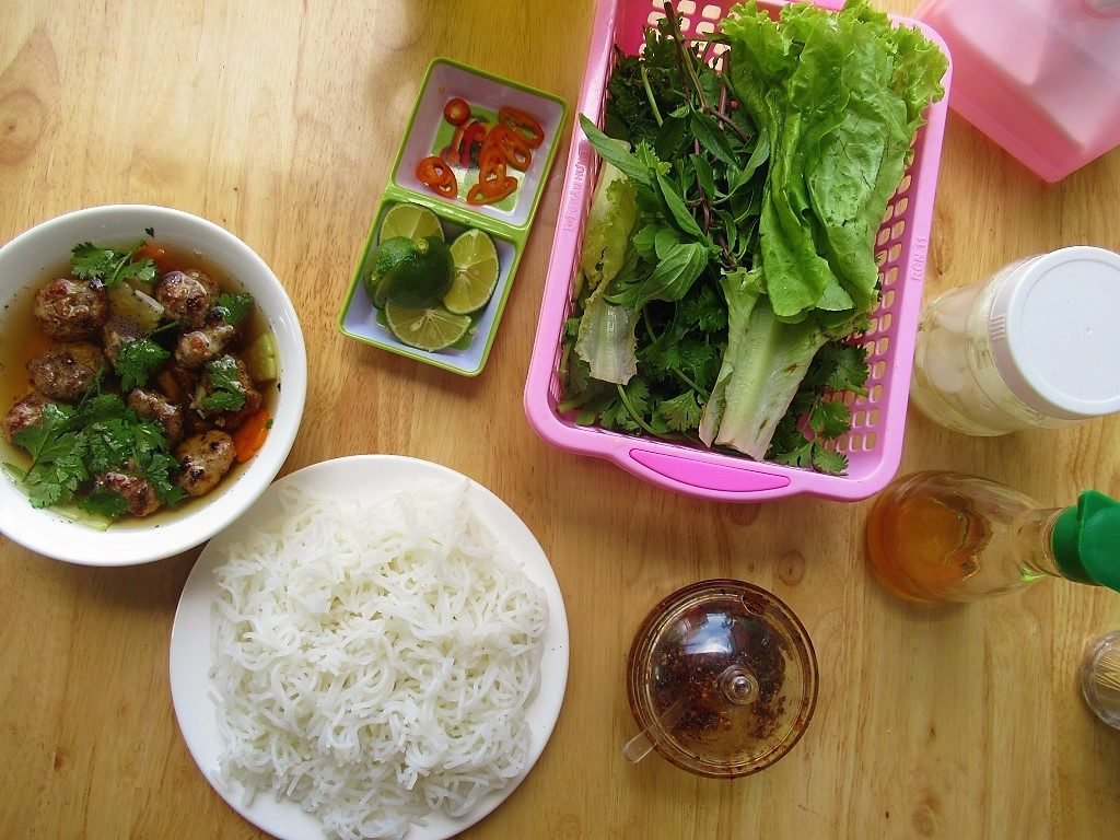 Bun cha noodles for breakfast, Con Son town, Con Dao, Vietnam