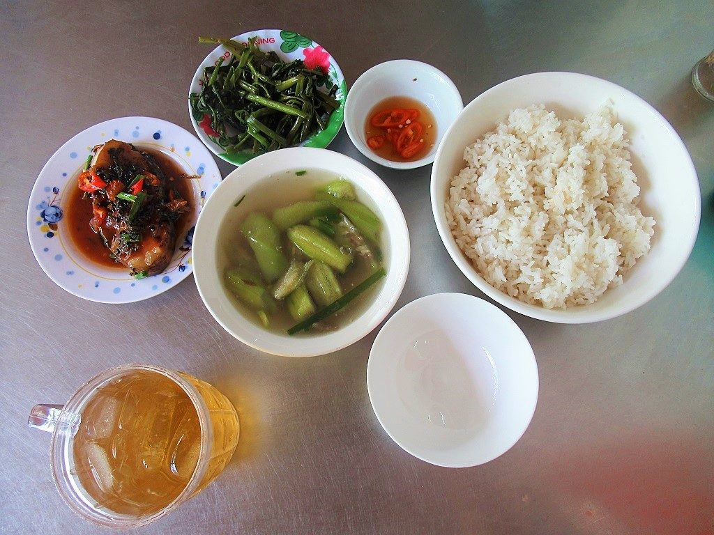 Rice lunch at Nho Oi eatery, Con Son town, Con Dao, Vietnam