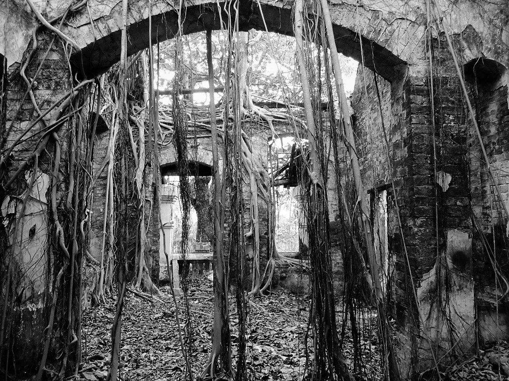 A ruined French villa, Con Son Island, Con Dao, Vietnam