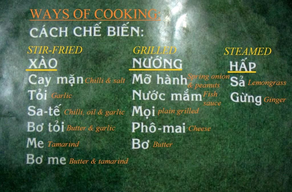 Snails & shellfish menu, Saigon, Vietnam