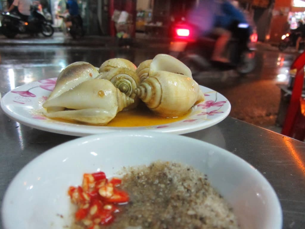 Eating snails in Saigon, Vietnam