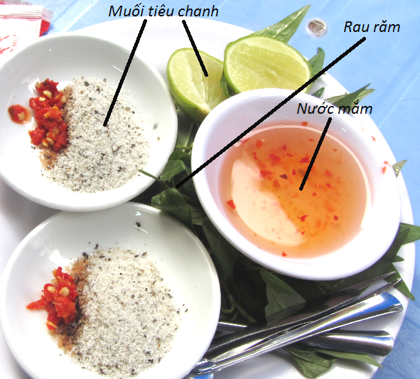 Salt, pepper, lime, fish sauce and 'hot mint'