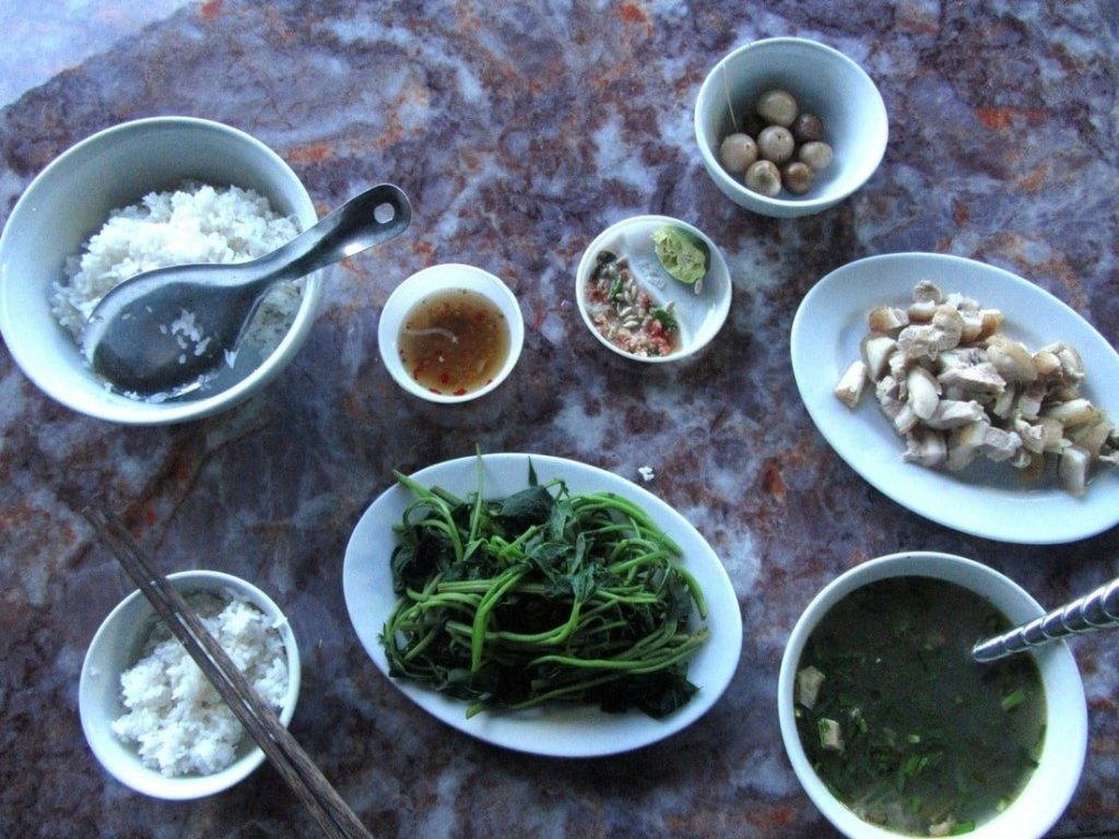 A typical (and delicious!) meal at a Quán Cơm