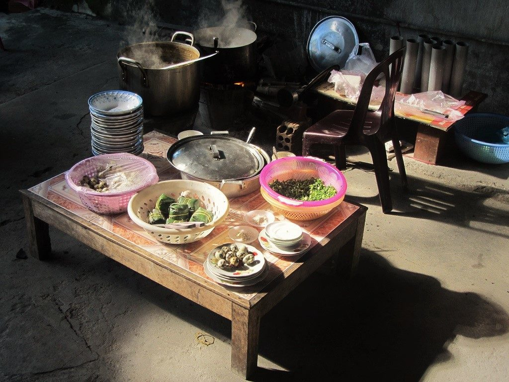 Home-cooked meal at a homestay, Mai Chau, Vietnam