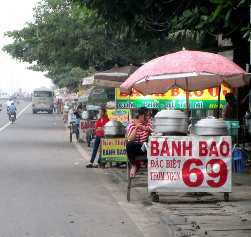 Bánh Bao 69 (steamed dumplings) for sale on Highway 51