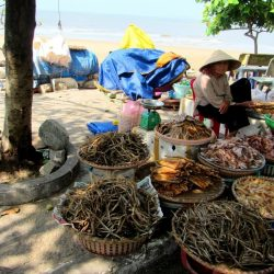 Dried seafood for sale at the fish market on Long Hải Municipal (west) Beach