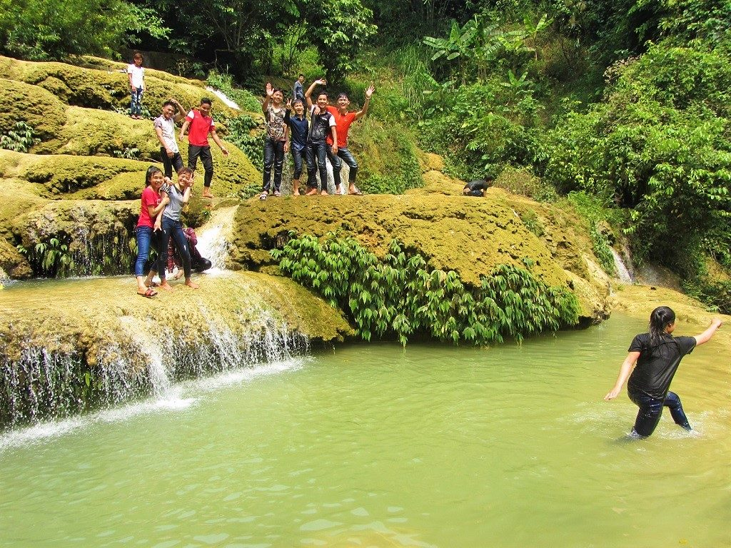 Playing in Thac May Waterfall, Pu Luong, Vietnam