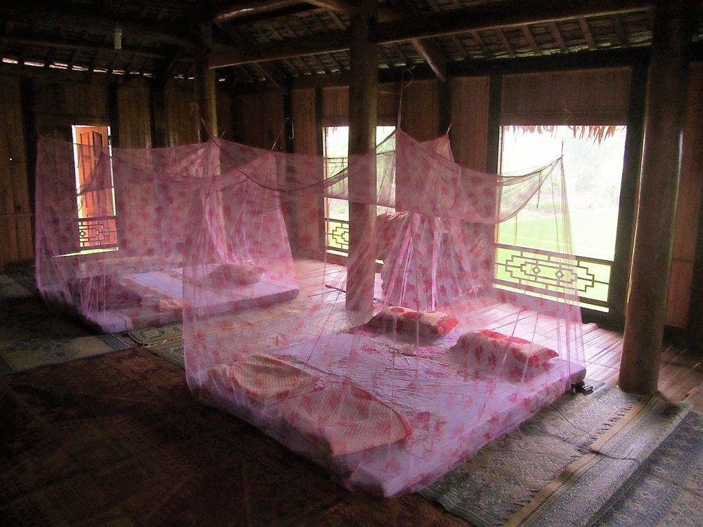 Sleeping on a mattress on the floor, Pu Luong homestays, Vietnam