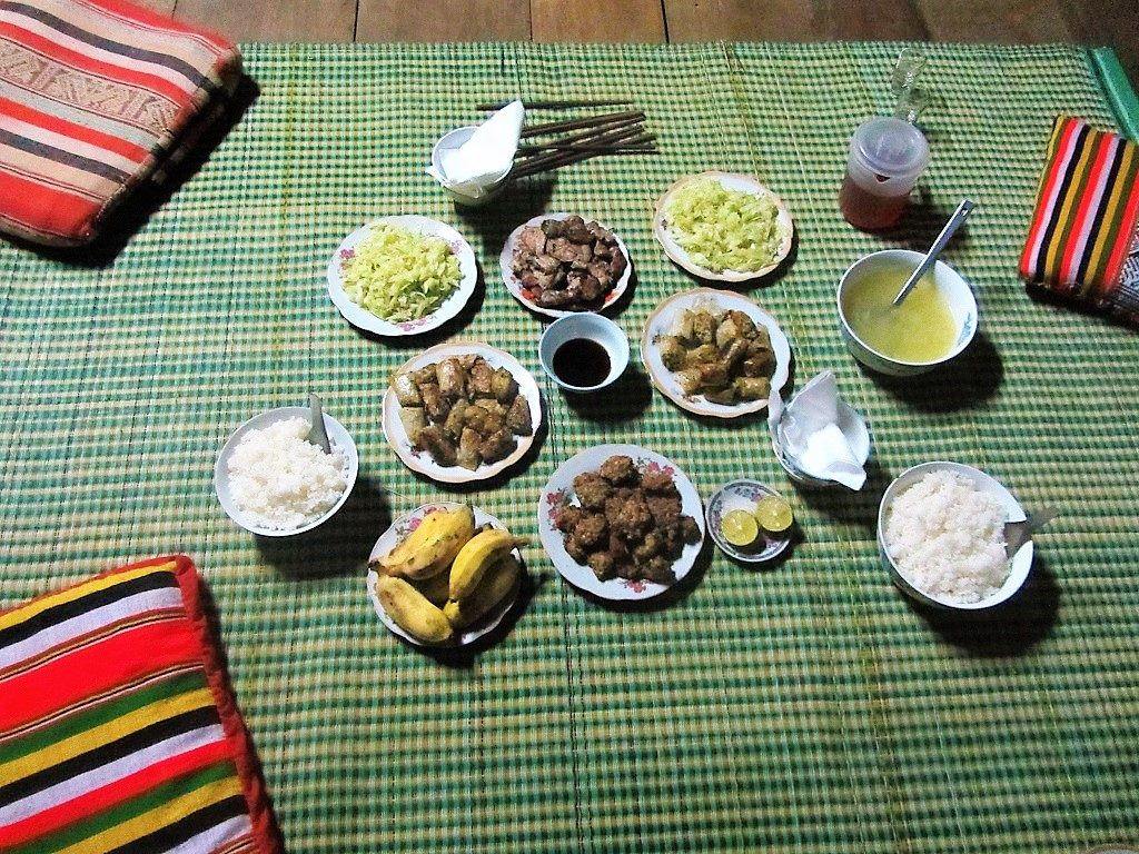 Family-style meal at a homestay, Pu Luong Nature Reserve, Vietnam