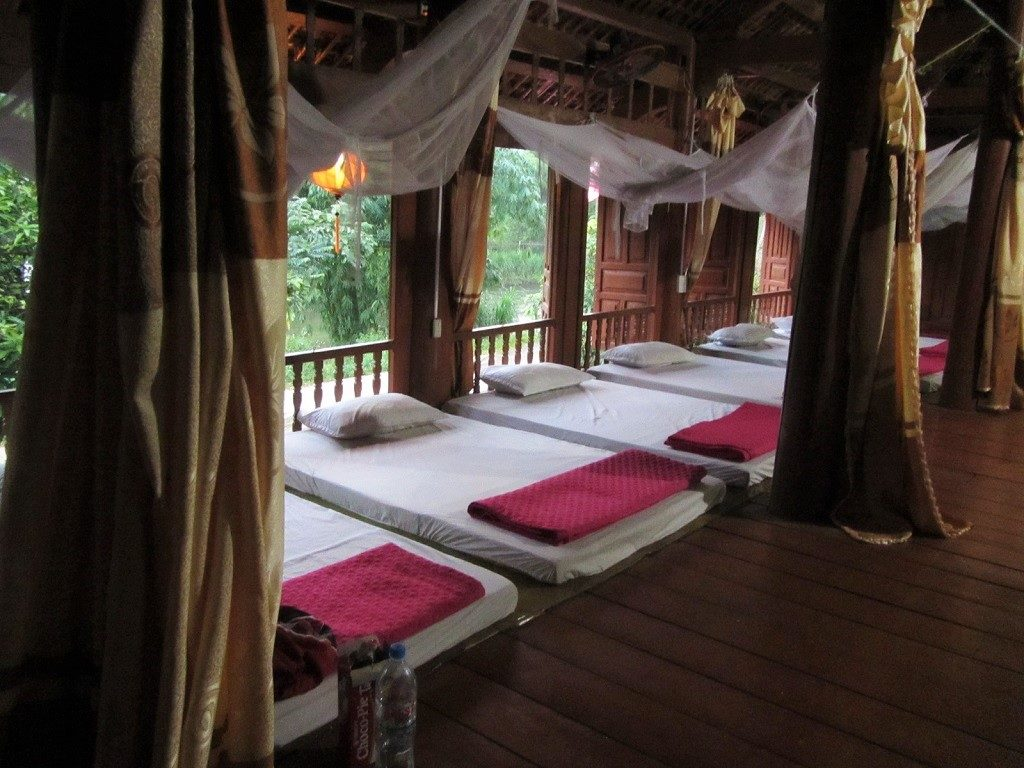 Sleeping on a mattress on the wooden floor, Pu Luong homestays, Vietnam