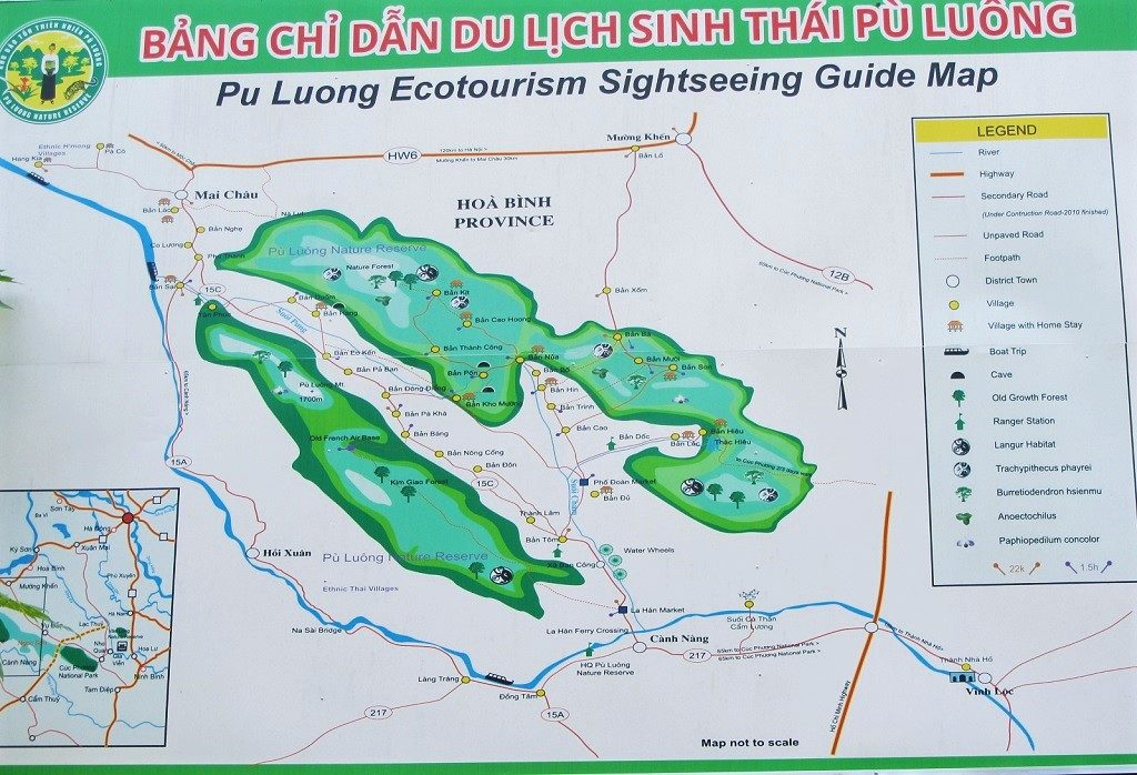 Map of homestays in Pu Luong Nature Reserve, northern Vietnam