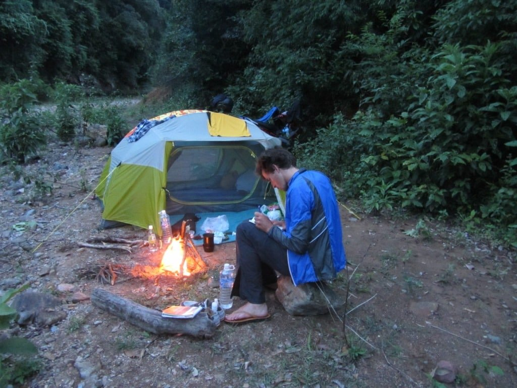 Campfire in the Truong Son Mountains, near the Lao border
