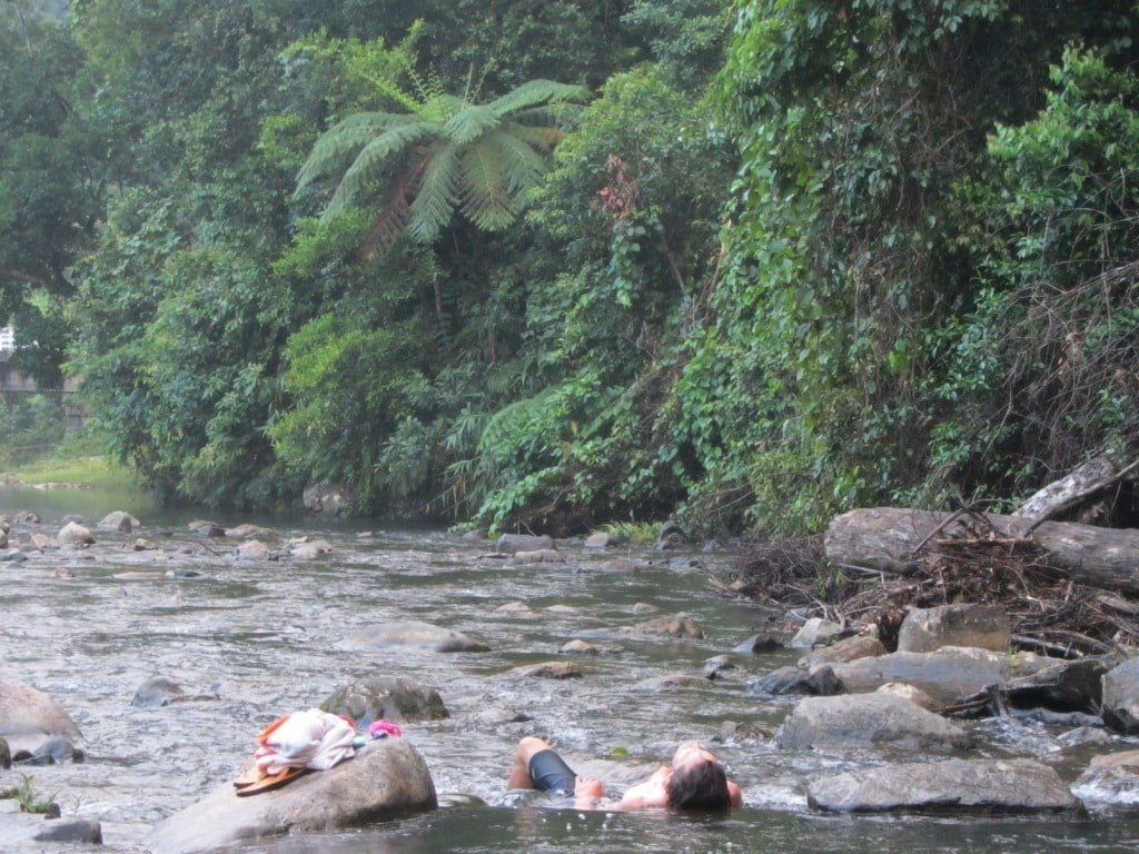 Bathing in the river by our campsite