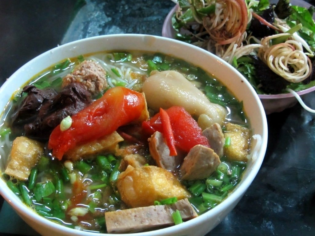 Street food in Hanoi is always excellent: this is Bun Rieu Nam Bo