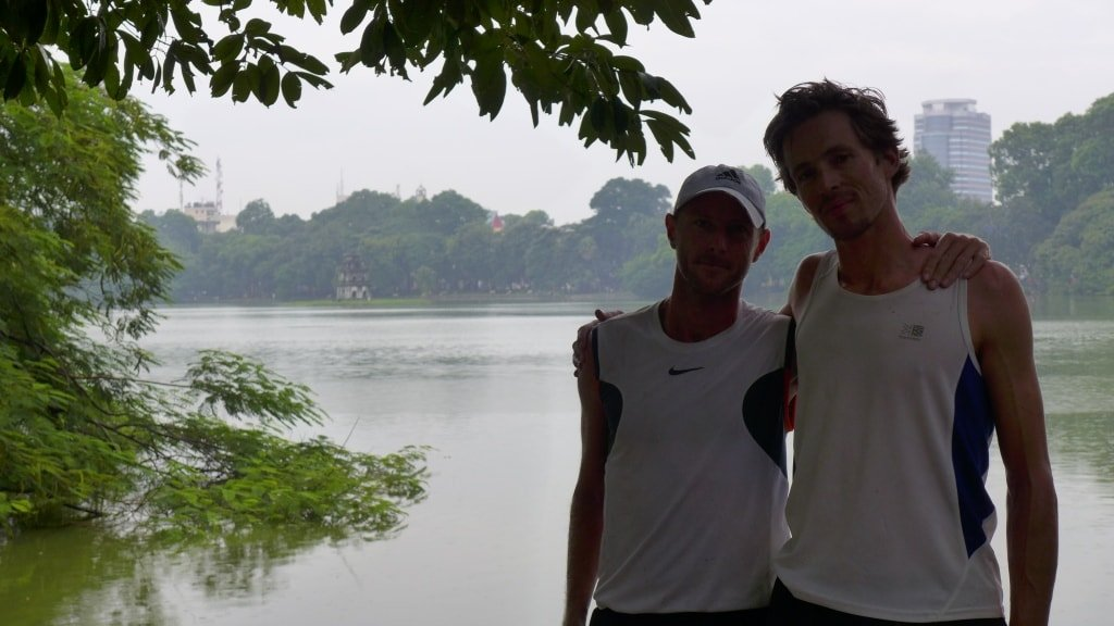 Made it! Sam & I after a celebratory run around Hoan Kiem Lake, Hanoi