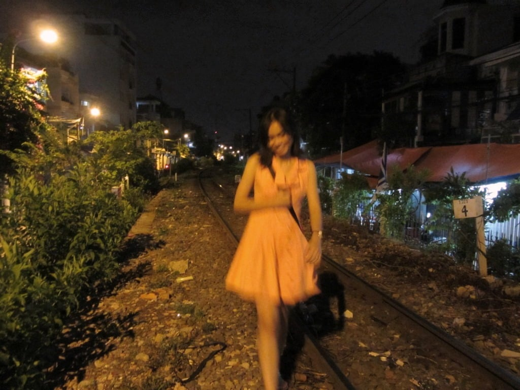 Walking the rail track in Saigon, Vietnam