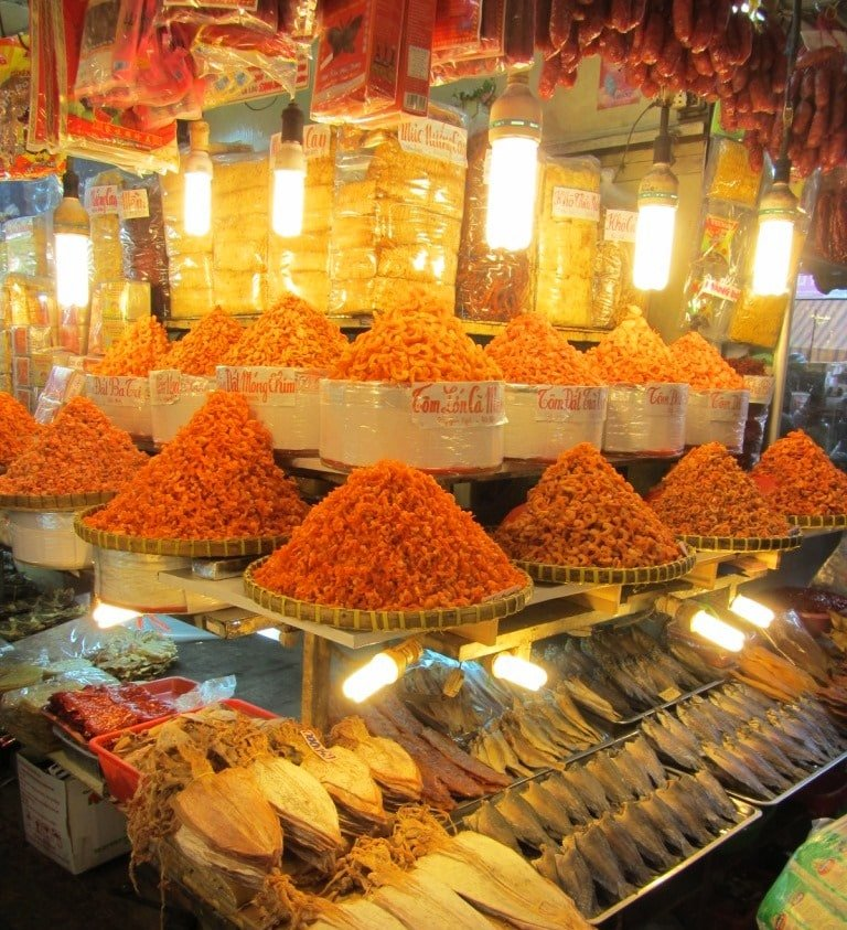 Dried shrimp & fish under light bulbs