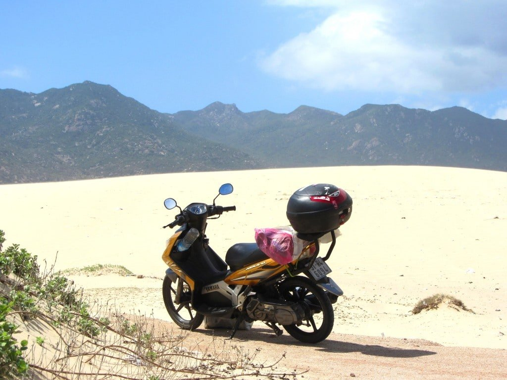 Stavros, my motorbike, in the sands of Ninh Thuan Province, Vietnam
