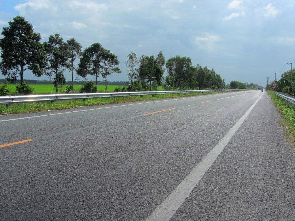 The highway from Rach Gia to Can Tho, Vietnam