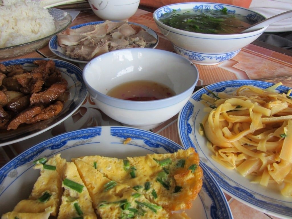 Food at a common rice eatery, Vietnam