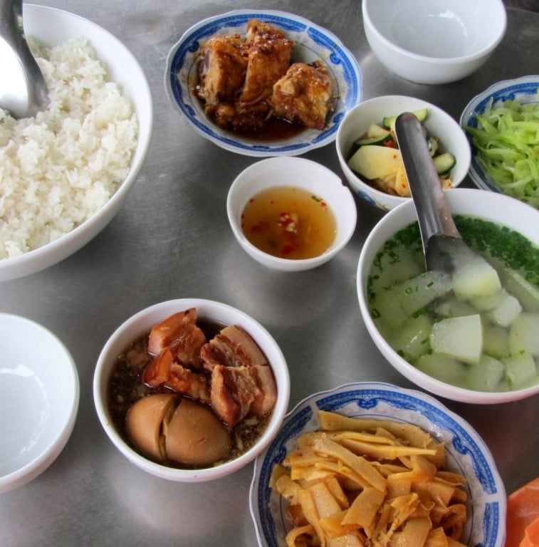 A classic spread at a common rice eatery, Central Highlands