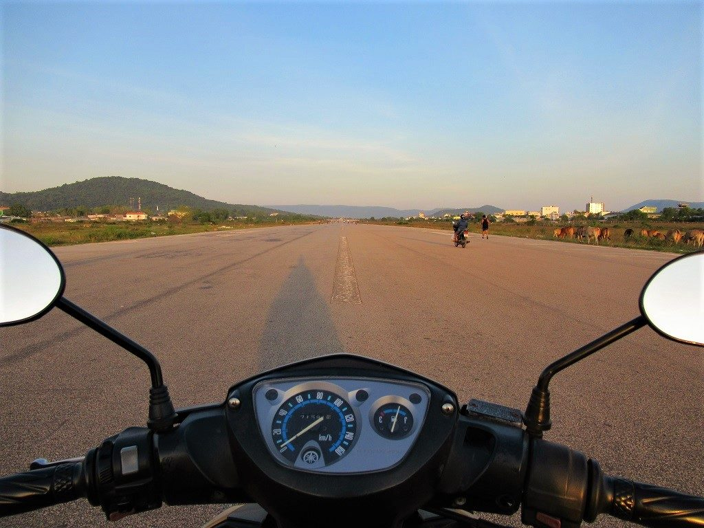 Riding a motorbike on the old Phu Quoc Airport runway, Duong Dong Town