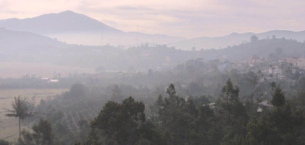 Dawn: view from a nhà nghỉ in the Central Highlands