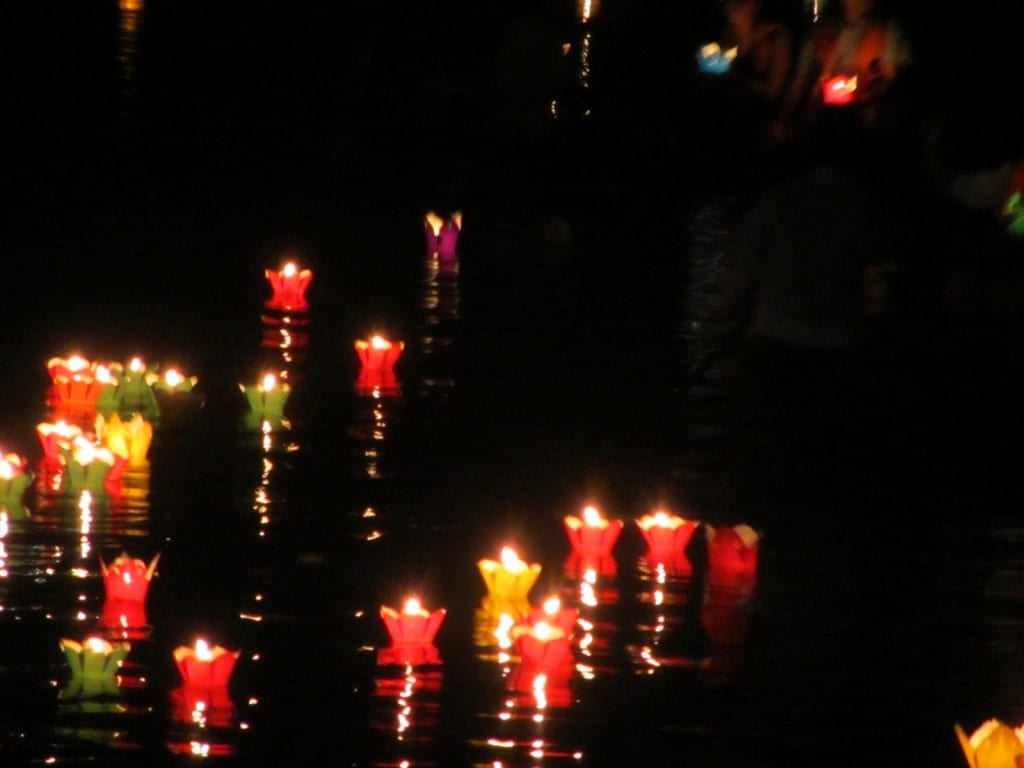 Lanterns afloat on the river