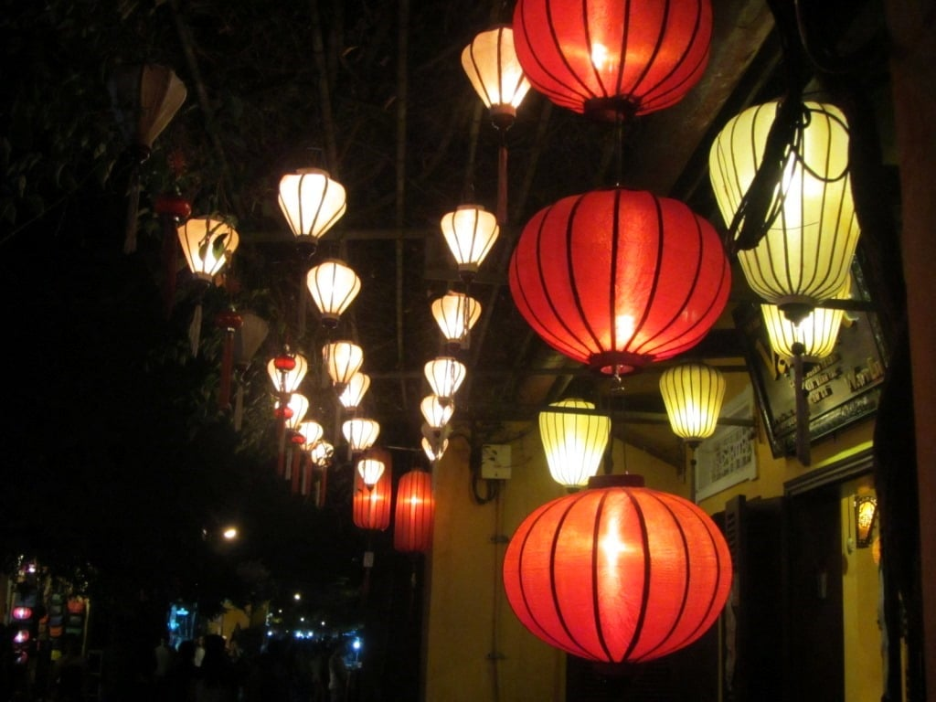 Lanterns are lit in the old town