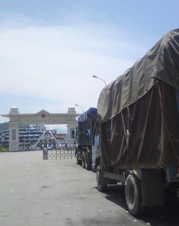 Trucks wait to enter China, Lao Cai