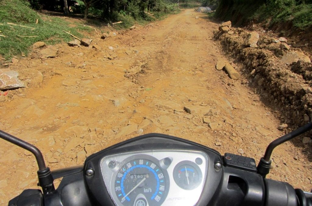 Dirt road conditions, Phong Rang to Xin Man, Vietnam
