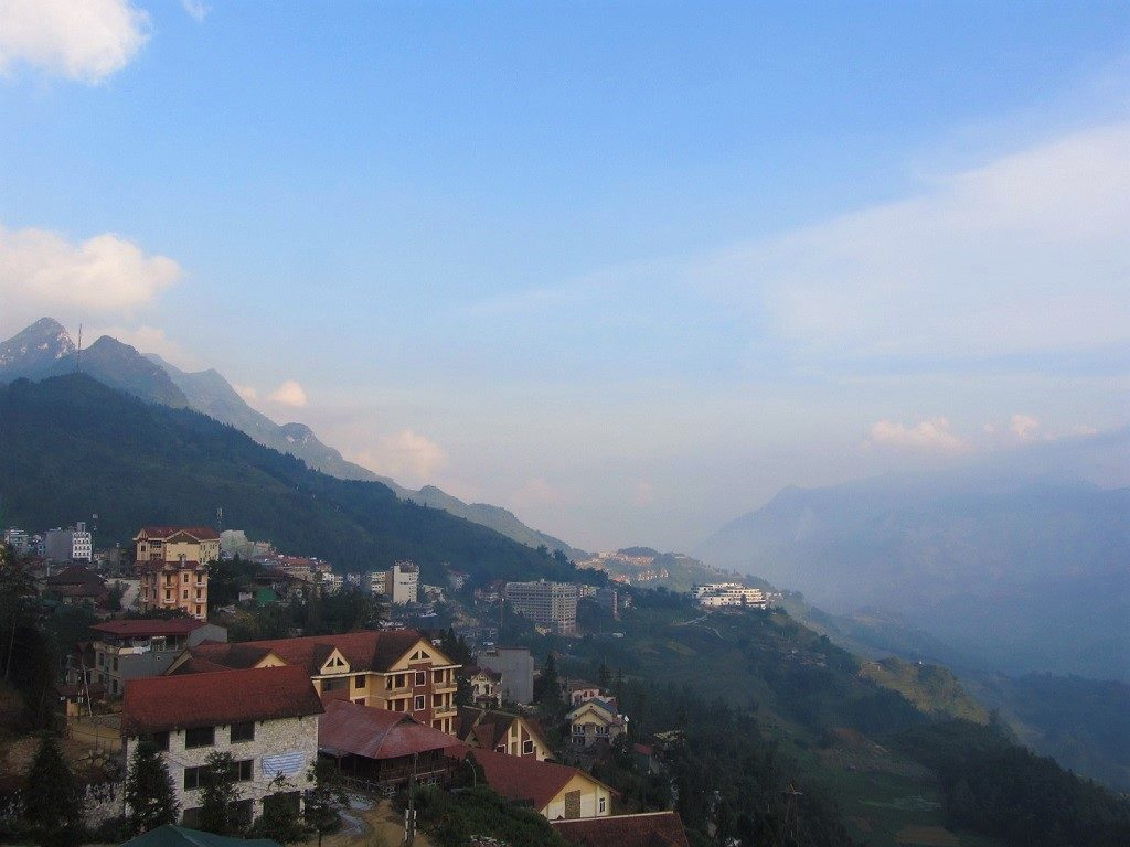 View of Sapa & surrounding mountains, northern Vietnam