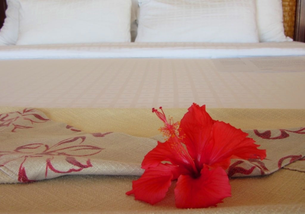 Hibiscus on the bed, Victoria Resort Phan Thiet