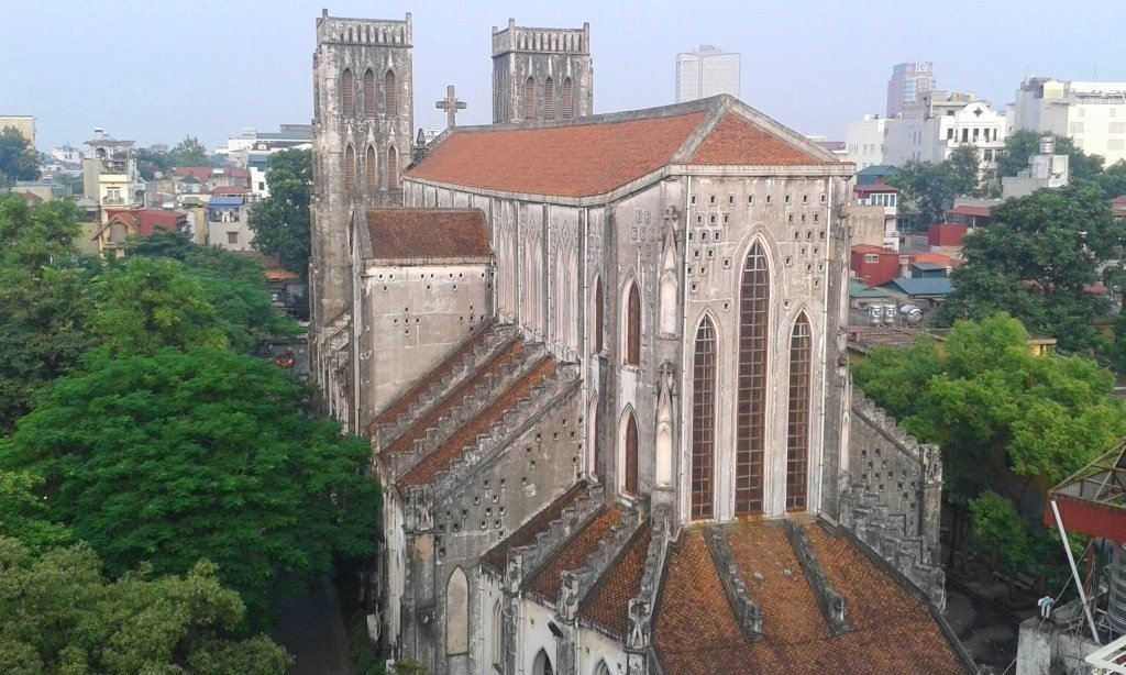 View of St Joseph's Cathedral from Hanoi Impressive Hotel