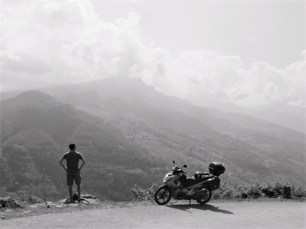 Admiring the view on the direct route to Xin Man, Vietnam