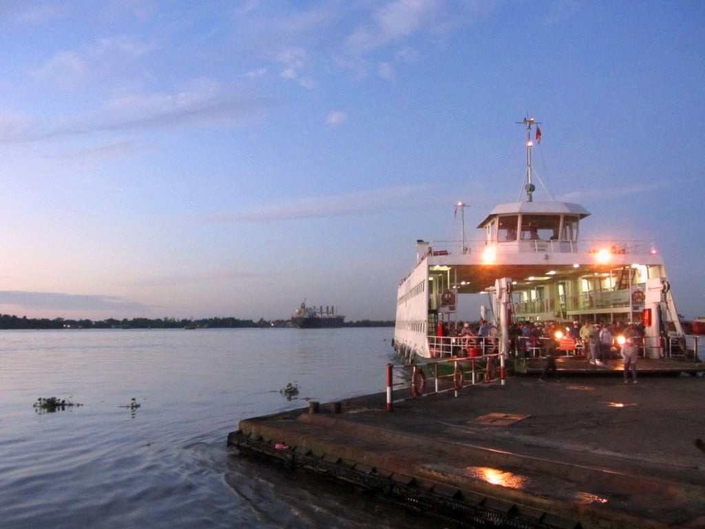 Ferry on the Saigon River at dawn, Vietnam
