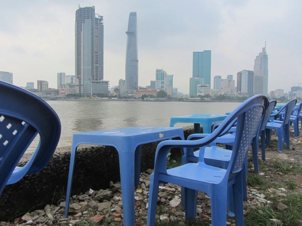 View of the Saigon River from Thu Thiem Park, Vietnam