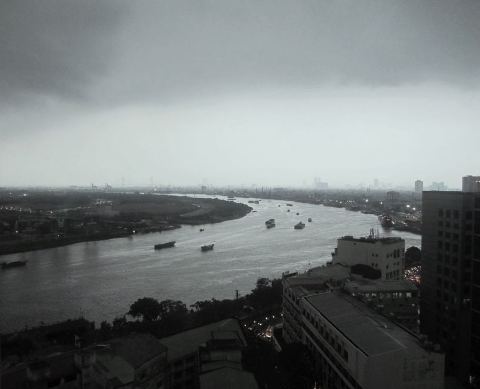 A monsoon storm over the Saigon River, Vietnam
