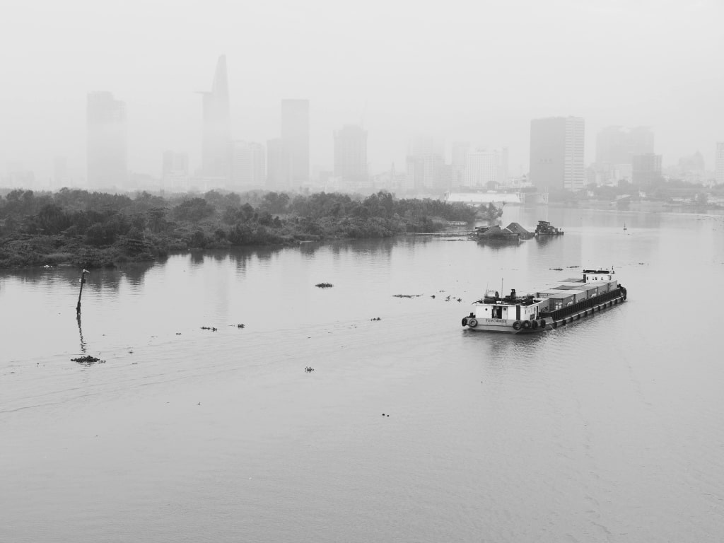 The Saigon River, seen from the Thu Thiem Bridge