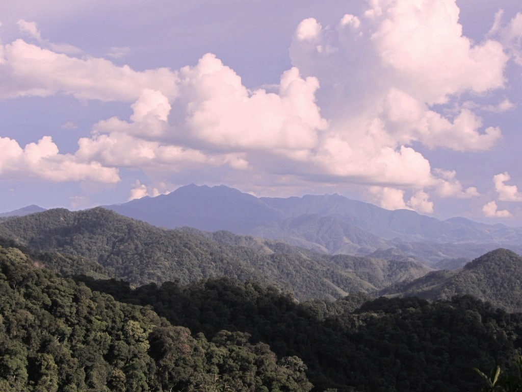 Jungle-clad mountains on the Ho Chi Minh Road, Vietnam