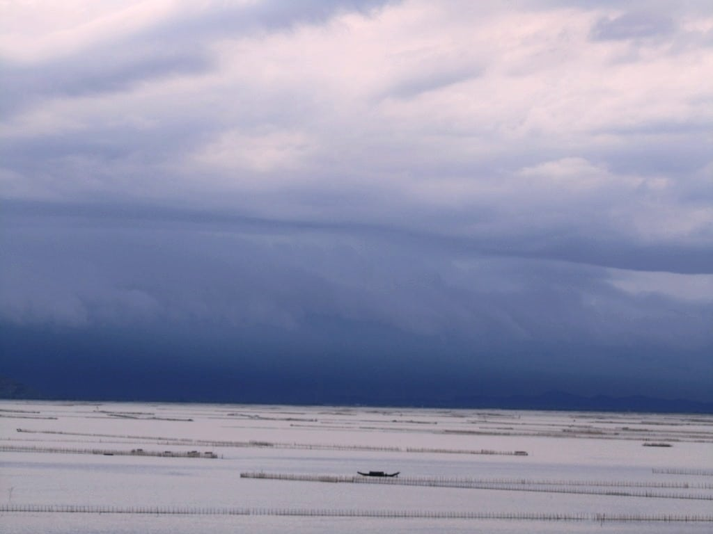 Storm over Cau Hai Lagoon, the largest in Southeast Asia