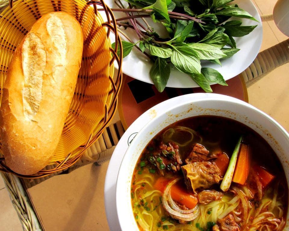 Bò kho (beef noodle stew) for breakfast in Lagi, Vietnam