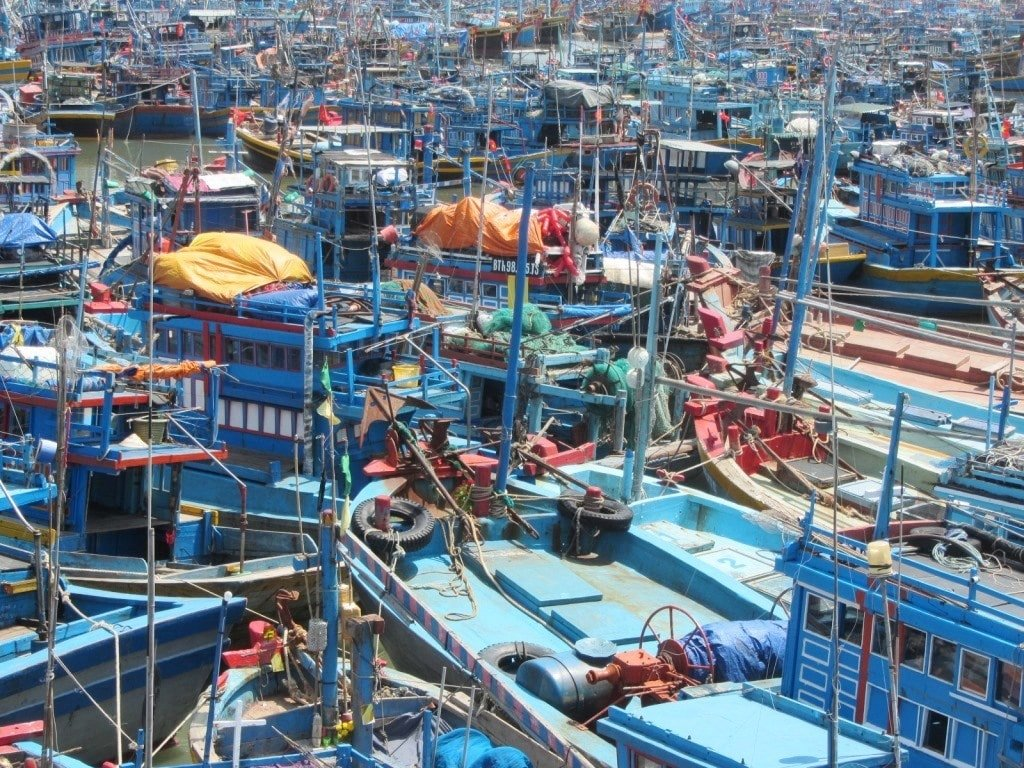 Fishing boats at anchor, Phan Thiet, Vietnam
