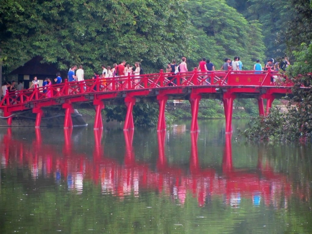 Huc Bridge, Hoan Kiem Lake, Hanoi, Vietnam