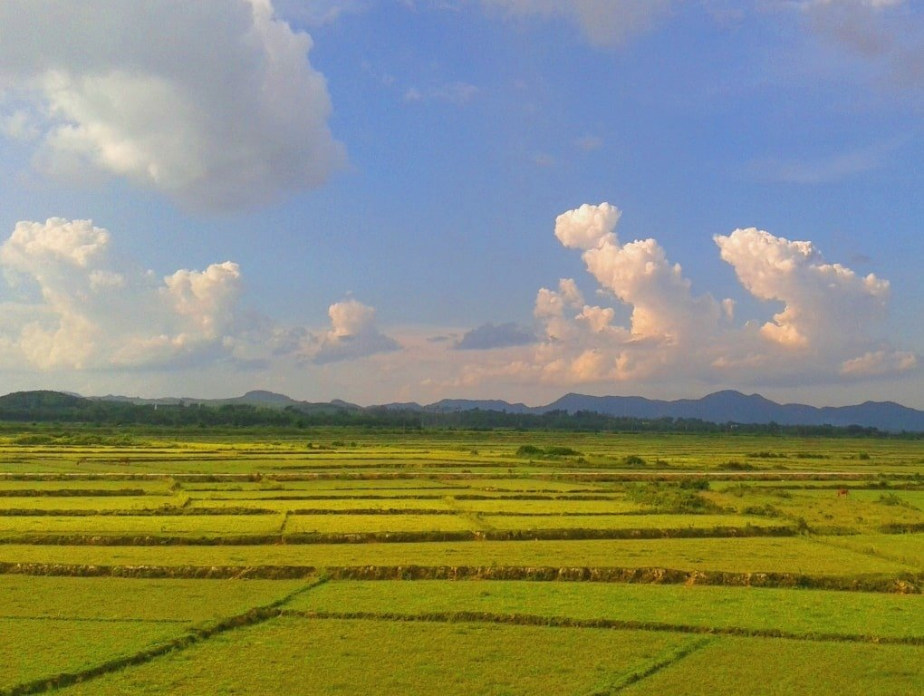 Agricultural landscape on the Ho Chi Minh Road, Vietnam