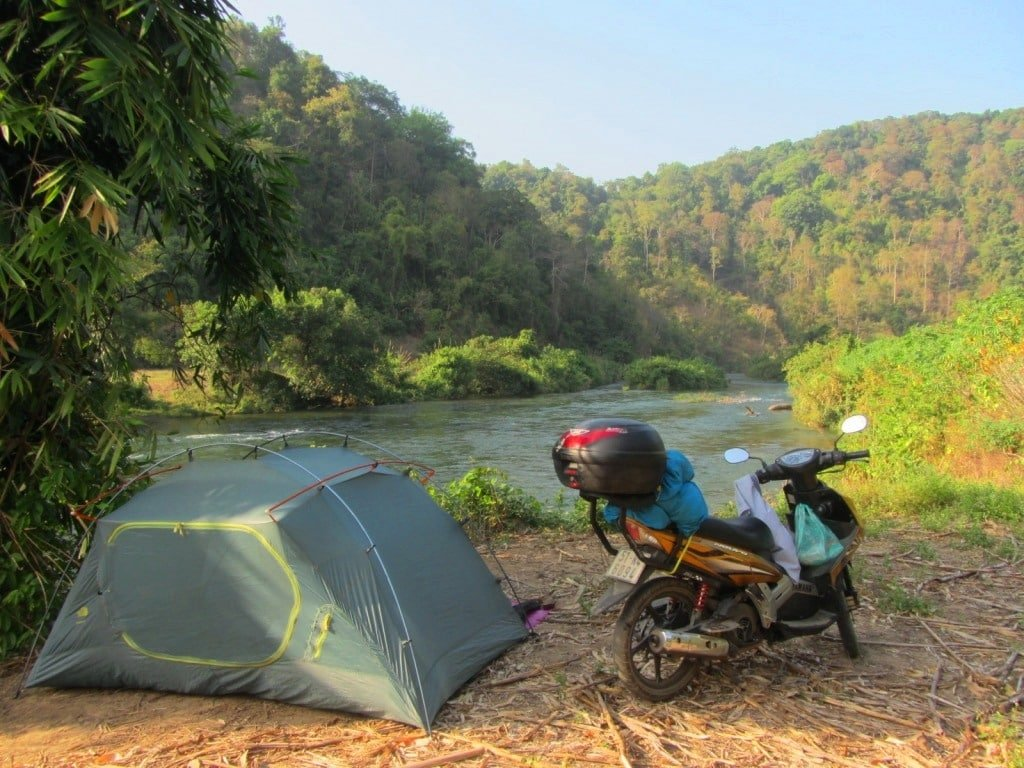 Camping with my GIVI Bike Box, Vietnam Coracle