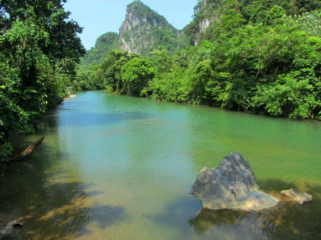 Clear river on the Ho Chi Minh Road, Vietnam