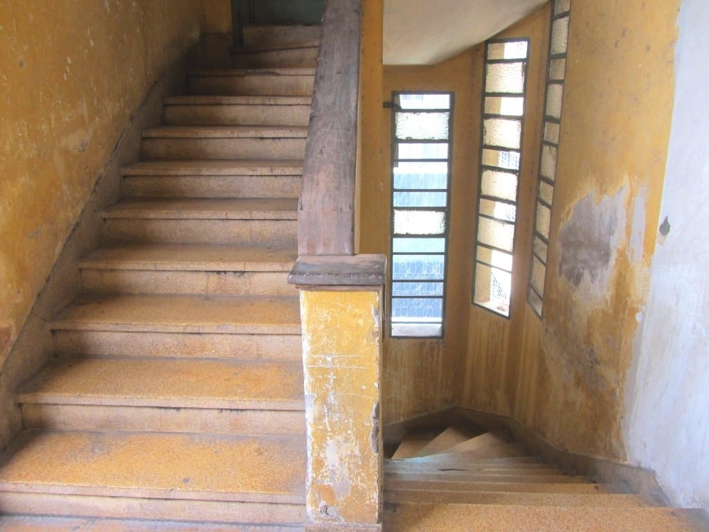 The old staircase at the Cafe Apartment, 42 Nguyen Hue Walking Street, Saigon
