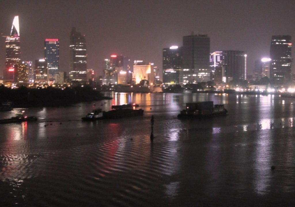 View from Thu Thiem Bridge at night, Saigon, Vietnam