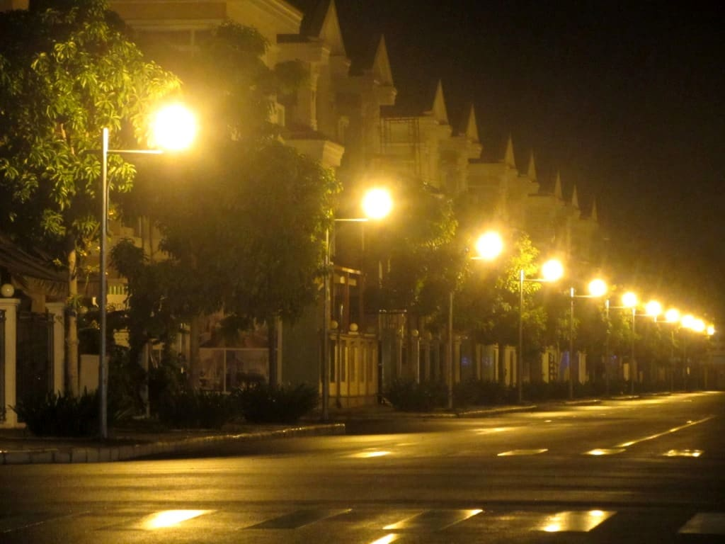 New suburban homes at night, District 7, Saigon